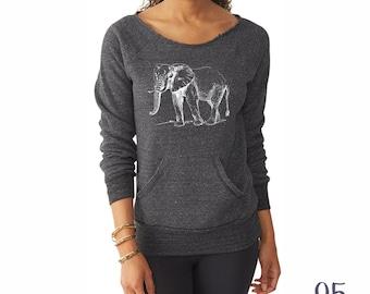 Elephant Shirt. Off the Shoulder Sweatshirt. Elephant Sweatshirt.