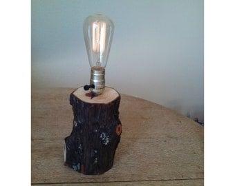 Natural Rustic Cedar Log Table Lamp