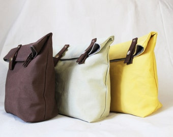 Lunch Bag, Waxed Canvas Lunch Bag, brown leather, 8 colors, lunch box, lunchbag, school bag, personalized, Phestyn