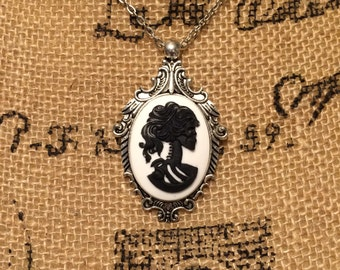 Black Victorian Skeleton Cameo Necklace - Distressed Resin, Curiosity, Oddity, Horror, Gothic, Macabre, Blue