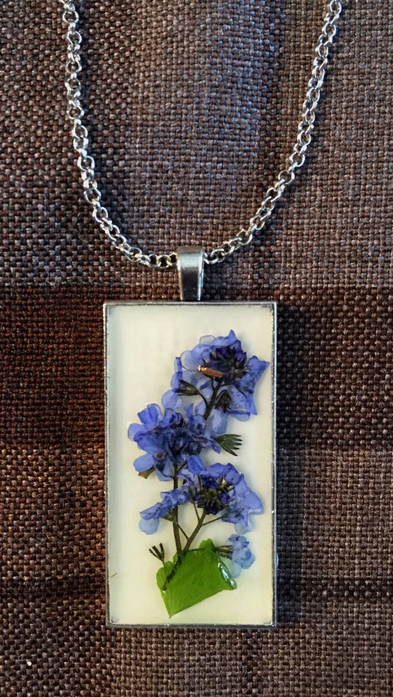 Outlander Scottish Bluebells Large Pendant Necklace - Jewelry - Copper, Gold or Silver - Forget Me Nots Claire Gabaldon Scotland FT16