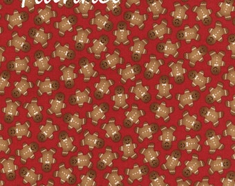 Gingerbread Flannel Fabric, Timeless Treasures Kidz F3380 Red Holiday, Christmas Flannel, Gingerbread Cookies, Cotton Quilting Flannel