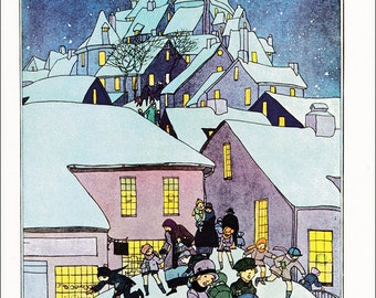 snowy village at Christmas Frolics vintage fine art print illustration by Maginel Wright Barney 1928 8.5x11.5 inches