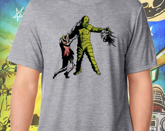 Monster of Piedras Blancas Handles a Walking Dead Zombie Gray Men's T-Shirt