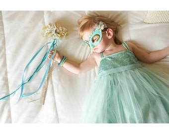 Girls Turquoise Fairy Costume, Toddler Fairy Wand, Birthday Crown, Sparkly Turquoise Mask, Sparkly Fairy Costume, Little Girls Halloween