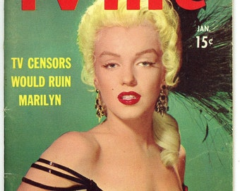 TV life Magazine  1954 Marilyn Monroe on Cover + 6 Page/6 image Article    Loretta Young   TV Censors would ruin Marilyn Monroe   Look !!