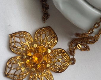 Vintage necklace, flower pendant, long necklace, gold tone necklace, 1970's jewellery, gift for her.