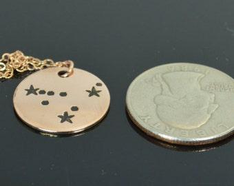 14k Rose Gold Filled Capricorn Necklace, Capricorn Necklace, Gold, Capricorn Constellation,  Capricorn Jewelry, Zodiac Pendant, Capricorn