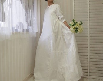 Silk chiffon dip dyed beach garden wedding dress with low for Simple cotton wedding dress