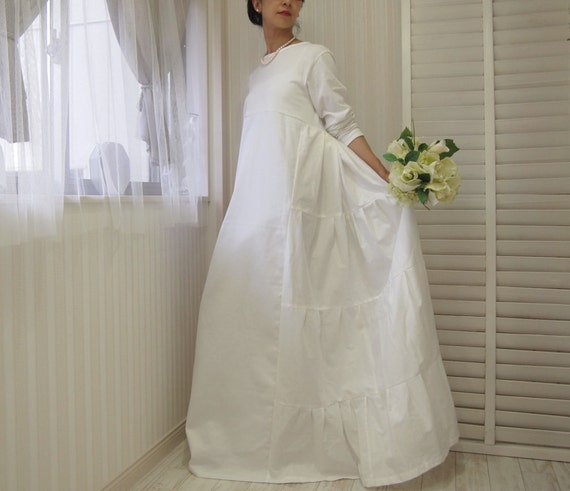 Items similar to long sleeve wedding dress cotton wedding for Simple cotton wedding dress