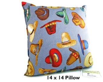 COWBOY HATS Western Pillow Cover, Cowboy Pillow, Western Theme, Western Decor, Cowboy Decor Kid Bedding, Western Bedding, Western Home Decor