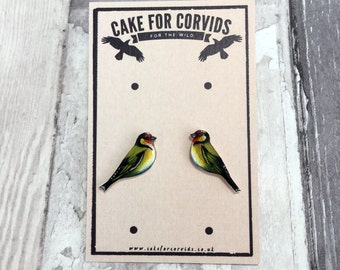Hand Drawn Goldfinch Bird Stud Earrings UK Native Species