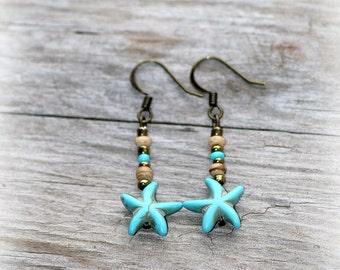 earrings, beach earrings, boho earrings, starfish earrings, bohemian earrings, turquoise earrings, rustic earrings, handmade earrings, gift