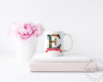 Personalized Mug | Bridesmaid Gift | Floral Monogram Mug | Name Mug | Initial Mug | Personalized Gift | Gift for Women | Under 50