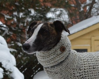 Whippet Clothing Knit Dog Cowl Whippet Cowl Dog Cowl Dog Snood Dog Hoodie Dog Accessories Greyhound Clothing Oatmeal Cowl