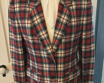 Vintage Women's Blazer Jacket by Pendleton, Plaid Colors of Red, Green and White, Plus a Touch of Navy Blue, Size Medium or a Small Large