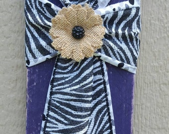 Purple Cedar Cross with Zebra Ribbon