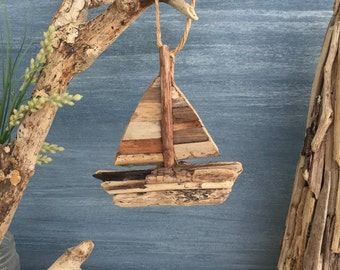 Driftwood Sail Boat  / Small Coastal Decor / Ornament