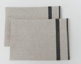 SALE 10% Off - Black Stripe Nordic Tea Towel Set of 2