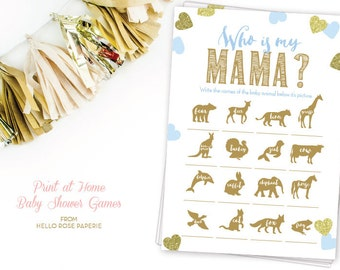 Who is my Mama Mommy Blue and Gold Baby Shower Games Printable . Animal Names . Baby Shower Boy . Instant Download . Glitter Hearts Confetti