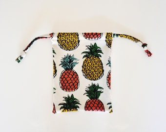 Pineapple Print Drawstring Bag - Medium Size