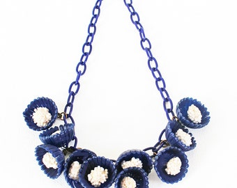 Vintage Celluloid Choker/Necklace with Sweet Blue Dangling Flowers