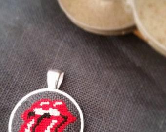 Miniature Stitch Rolling Stones - Needlework Pendant Necklace - Rock N Roll Cross Stitch Jewelry
