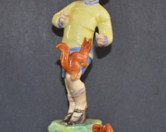 Vintage Mid Century Royal Worcester Figurine Months of Year October 3417 Freda Doughty Artist Design Boy with Squirrels Birthday Gifts