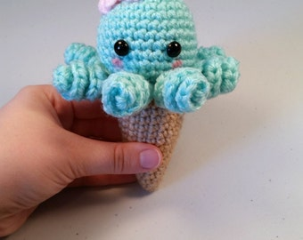 Octopus Ice Cream Amigurumi, Kawaii Plush, Mini Crochet Octopus Amigurumi, Octopus Plush, Stuffed Animal, Octopus Toy, Stuffed octopus,