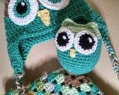 Owl hat & crochet Lovey set Baby gift adorable Earflap hat 6-12 mo infant gift security blanket crochet boy or girl OOAK Ready to ship