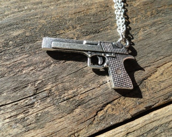 Silver pistol necklace, Silver gun necklace, Soldier gift, Silver pistol pendant, Silver weapon necklace, Military gift