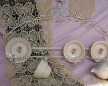 Shabby Chic Distressed White Wrought Iron Tea Cup and Saucer Hanging Wall Display