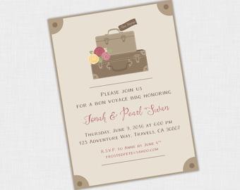 Bon Voyage Party Invitation, Going Away Invite, Suitcase, Vintage, 5 x 7 DIY Printable PDF or JPEG