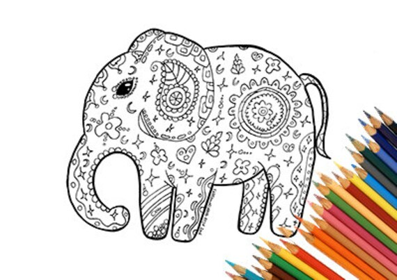 Elefante para imprimir colorear Mandalas zentangle india