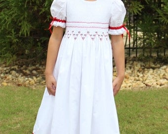 Smocked Dress White and Red Heirloom by Strasburg Children