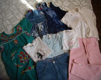 Set clothes girl 7-8 years, pink jeans, jeans, t-shirt, dress, VINTAGE 90's skirt