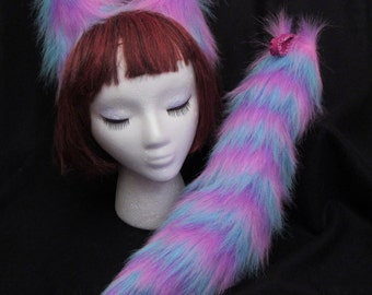 """Rainbow Ears-Tail/17"""" SET, Clip-on or Elastic Tail, faux-fur, Cosplay/Anime Costume, Cheshire Cat, Dog- Furry & Soft"""