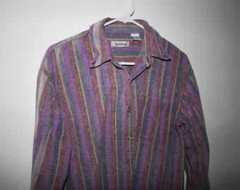 vintage purple striped button-up shirt