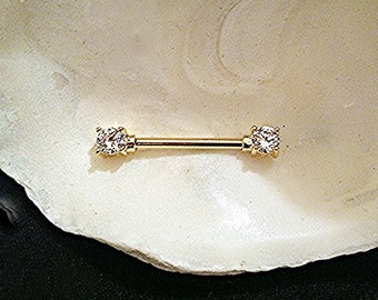 WHITE CZ CLEAR Nipple Barbells Gold Plated, 14g, 12mm 14mm 16mm barbell, Prong Set cz End Caps. 1 Barbell