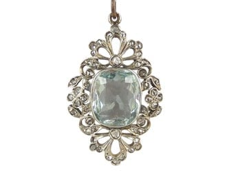 Edwardian Aquamarine Diamond Pendant, Antique Aquamarine Pendant, In 15ct Gold, Victorian Aquamarine Necklace, Antique Jewellery