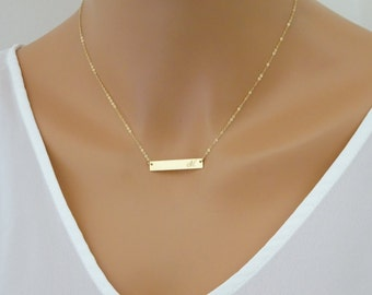 Name Necklace Gold Name Plate Necklace Initial Necklace Bar Necklace Letter Necklace Monogram Necklace gift for her