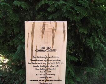 Ten Commandments Carving Plaque