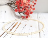 dainty pearl necklace adjustable pearl choker with clasp ivory pearl bridesmaid jewelry gift for her simple pearl chocker necklace wedding