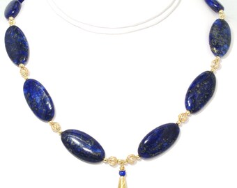 BN107- Large Blue Lapis and Gold necklace