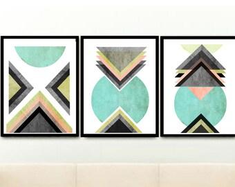 art scandinave triptyque art g om trique art par exileprints. Black Bedroom Furniture Sets. Home Design Ideas