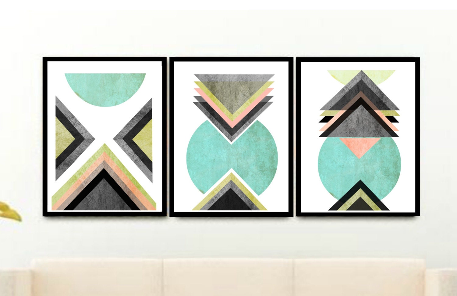 Blue Scandinavian Prints Triptych Set of 3 Prints