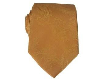 Gold Paisley Tie.Gold Necktie.Wedding Tie. Silk Necktie For Men