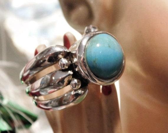 Turquoise Ring BARSE Sterling Silver Statement Modernist Vintage Ring Southwestern Western Gemstone Gem BOHO Bold Chunky Turquoise Triple