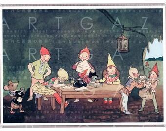 PIXIE POST ! Elves Vintage Fairy Tale Illustration. Digital Fairy Download. Vintage Nursery Art Fairies & Elves Print.