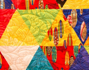 NOW 10% OFF!  So soft, Maui Hang 10 Surfing Quilt, Bright Colors, Professionally Quilted,  Minky Backing, Featuring fabrics from Maui